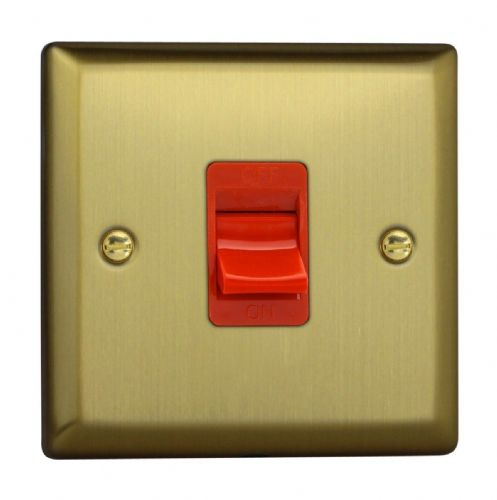 Varilight XY45S.BB Urban Brushed Brass 45A DP Cooker Switch Single Plate